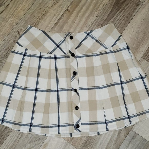 JOA Cream/White Pleated Plaid/Tartan Skirt/Kilt